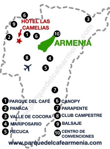 bbicacion Hotel Las Camelias